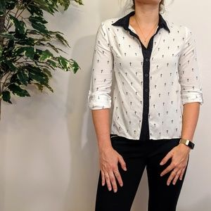 Long Sleeve Blouse with Cross Pattern